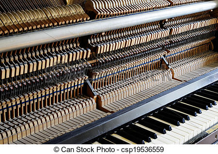 Stock Images of inside the piano: string, pins and hammers.