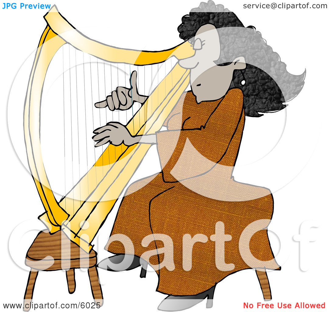 Female African American Harpist Playing the Harp Clipart Picture.