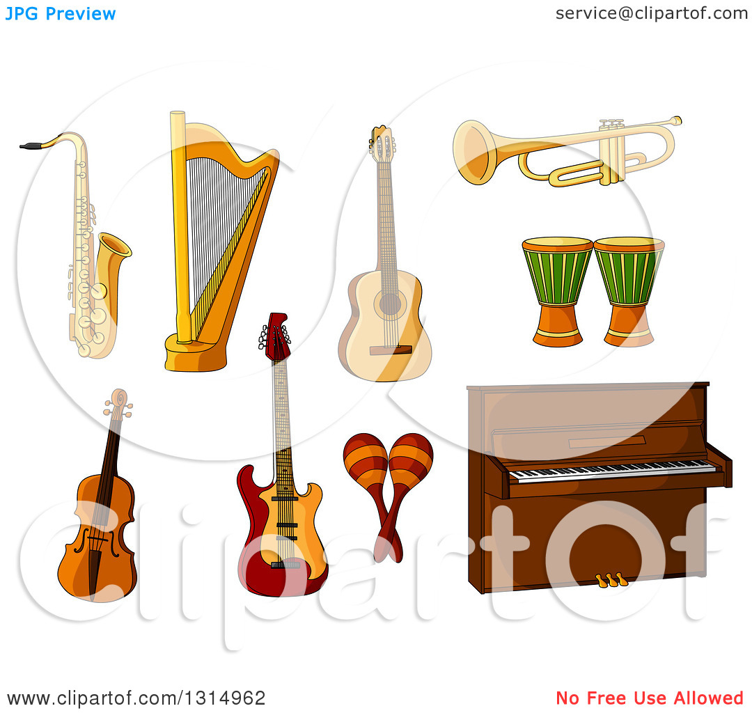 Clipart of a Cartoon Saxophone, Harp, Guitars, Trumpet, Violin.