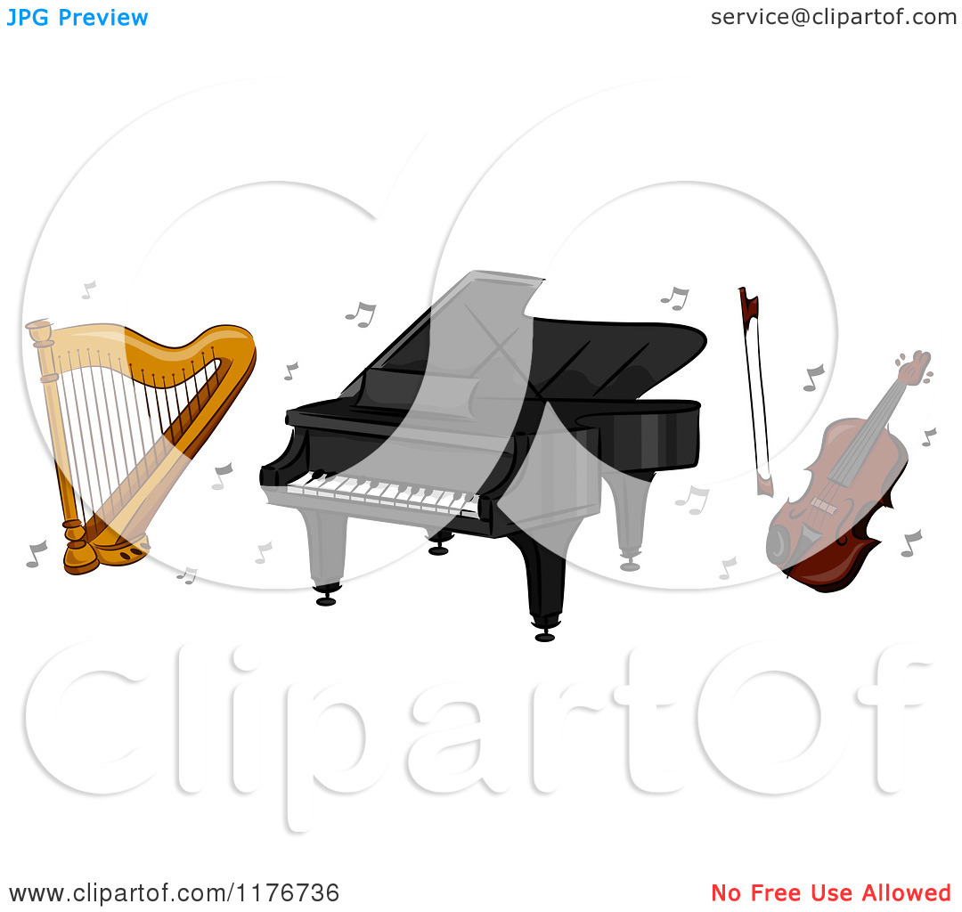 Cartoon of a Harp Piano and Violin with Music Notes.