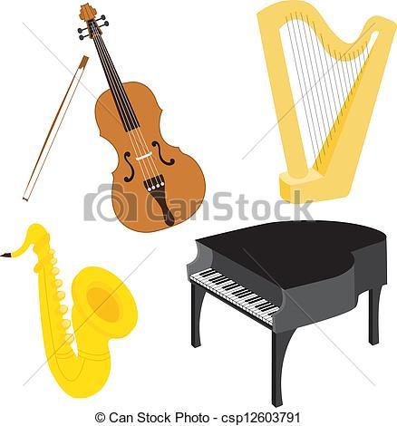 EPS Vectors of Cartoon music instruments set 1.