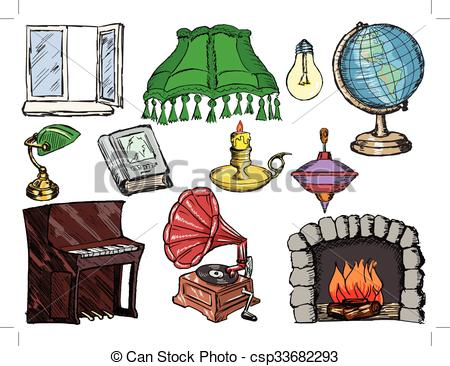 EPS Vectors of set of objects of interior with fireplace, piano.