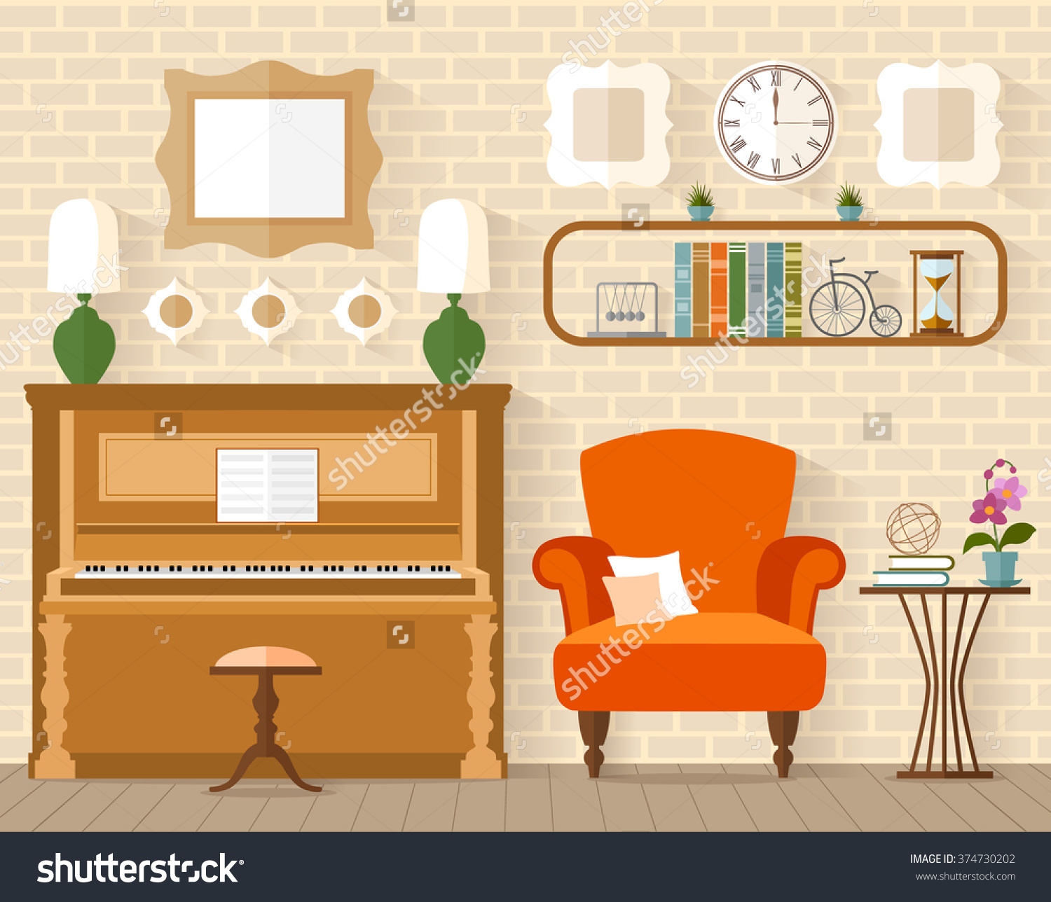 Interior Furniture Piano Flat Style Living Stock Vector 374730202.
