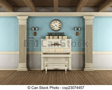 Stock Illustrations of Vintage interior with upright piano, stone.
