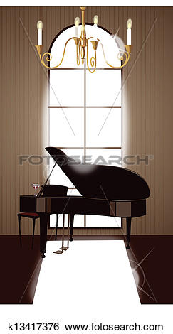 Clip Art of House interior with grand piano k13417376.