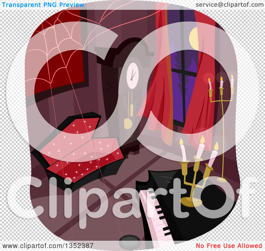 Clipart of a Vampire Home Interior with a Coffin, Piano, Webs and.