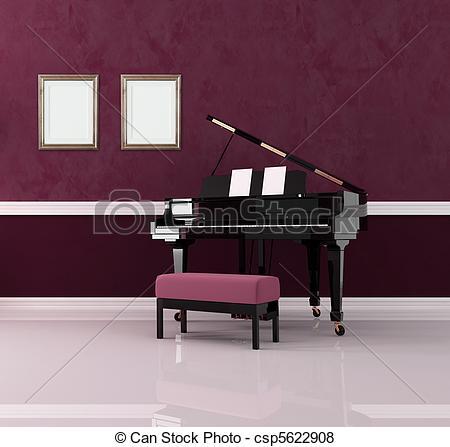 Stock Illustration of purple music room.