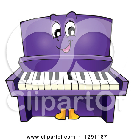 Happy Cartoon Purple Piano Character Posters, Art Prints by.