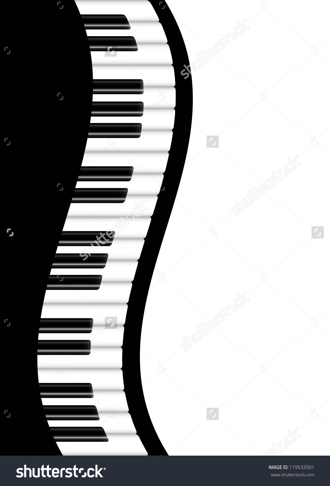 Piano Keyboards Wavy Border Background Illustration Stock.
