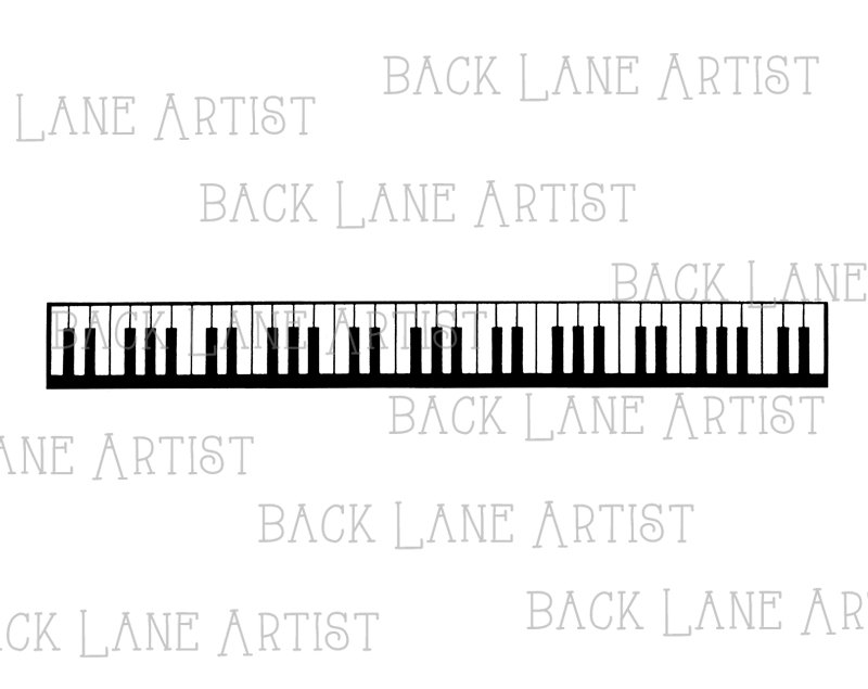 Vintage Piano Keyboard Music Clipart Border Lineart Illustration.