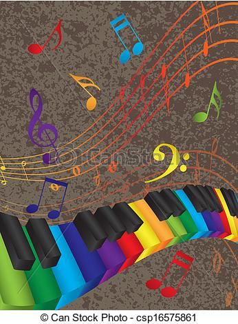 Clip Art Vector of Piano Wavy Border with Colorful 3D Keys and.