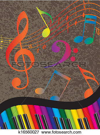 Clip Art of Piano Wavy Border with Colorful Keys and Music Note.