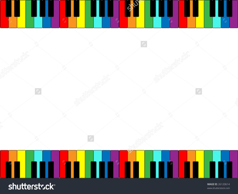 Vector Illustration Piano Keyboard Border Rainbow Stock Vector.