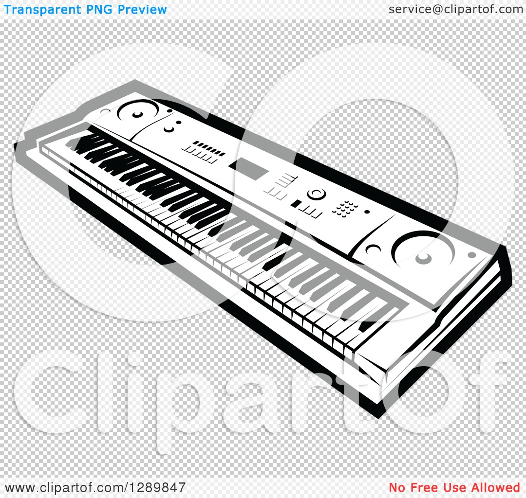Clipart of a Black and White Electric Music Piano Keyboard.