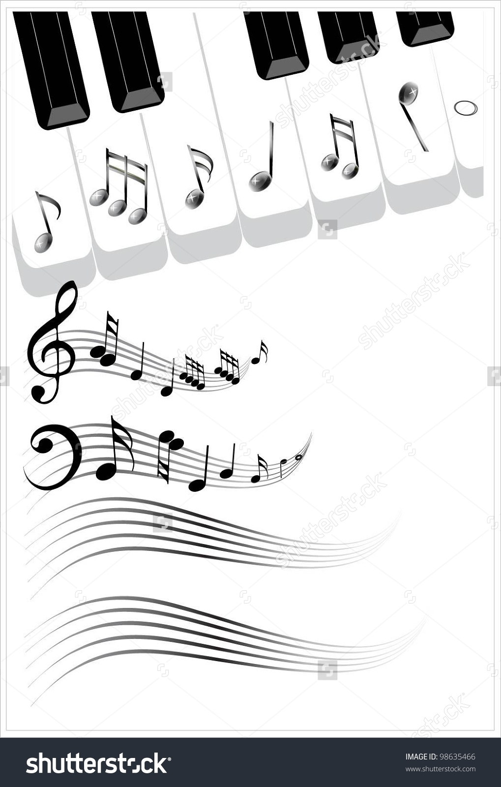 Clip Art Illustration Music Background Piano Stock Vector 98635466.