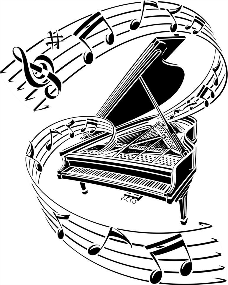 Piano music clipart.