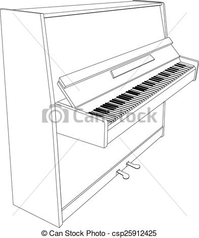 Vector Illustration of open piano contour with keyboard, pedals.