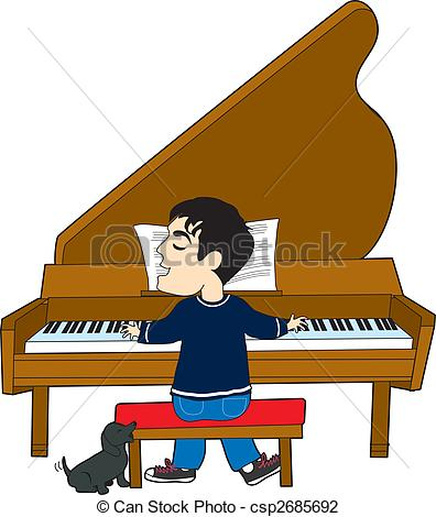 Clip Art of Piano Player and Dog.