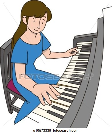 Woman Piano Player Clipart.