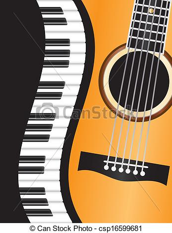 Vector of Piano Wavy Border with Guitar Illustration.