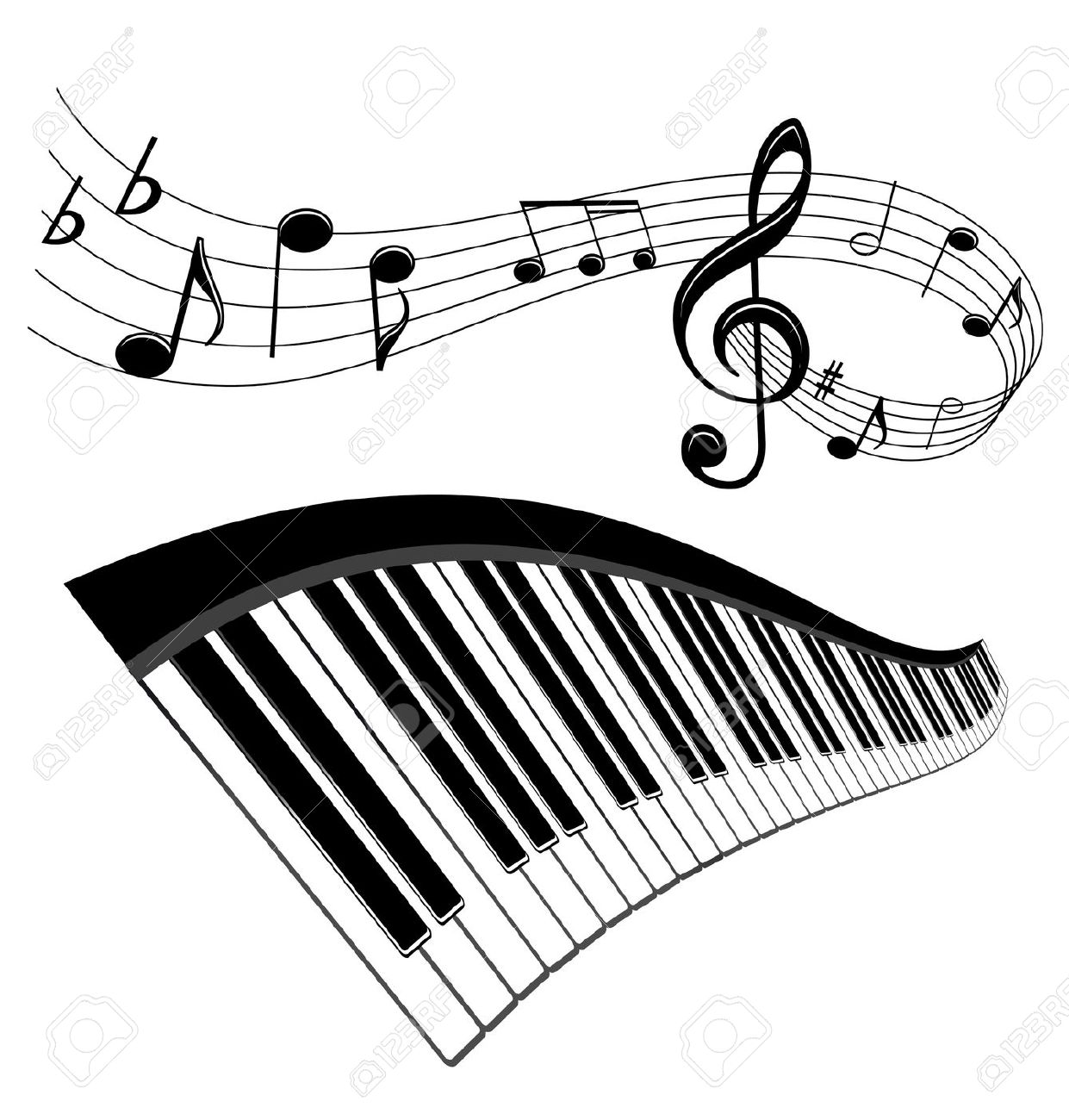 Piano And Notes With Music Elements For Musical Design Royalty.