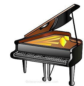 Woman grand piano notes cartoon piano clip art free vector 5.