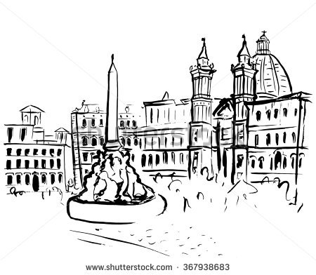 Hand Drawn Ink Sketch Piazza Navona Stock Vector 353759630.