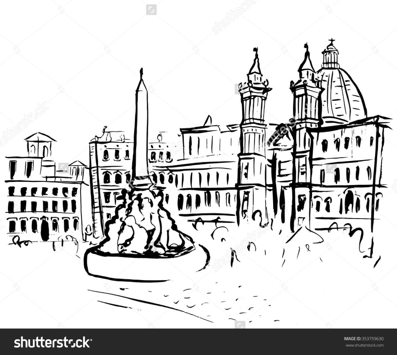 Italian piazza clipart.