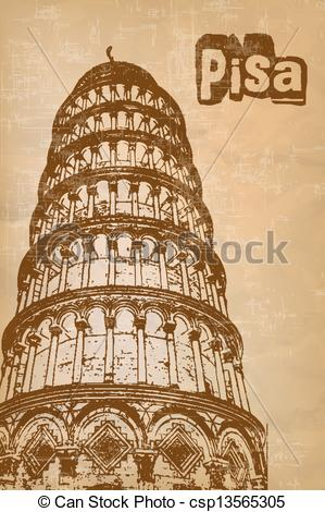 Vector Clipart of Pisa Tower.