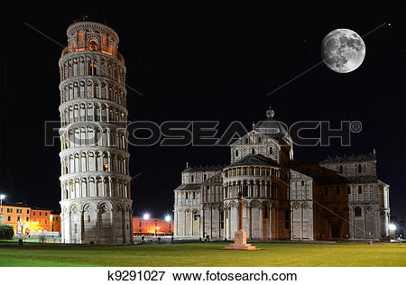 Picture of Basilica and the Leaning Tower on the Piazza dei.