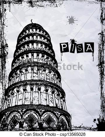 Vector Illustration of Pisa Tower.