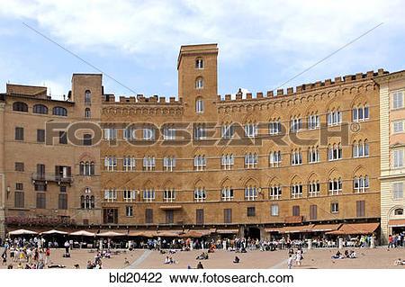 Stock Photo of Italy, Toscana, Siena, Piazza del Campo, old city.