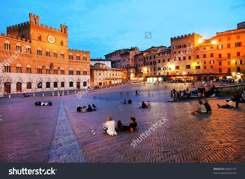 Piazza Del Campo Palazzo Pubblico Siena Stock Photo 83063137.