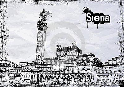 City Hall Of Siena Stock Photo.