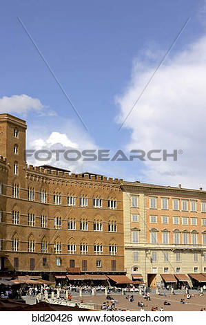 Stock Images of Italy, Tuscana, Siena, Piazza del Campo, old city.