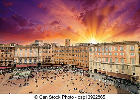 Stock Image of Wonderful aerial view of Piazza del Campo, Siena on.
