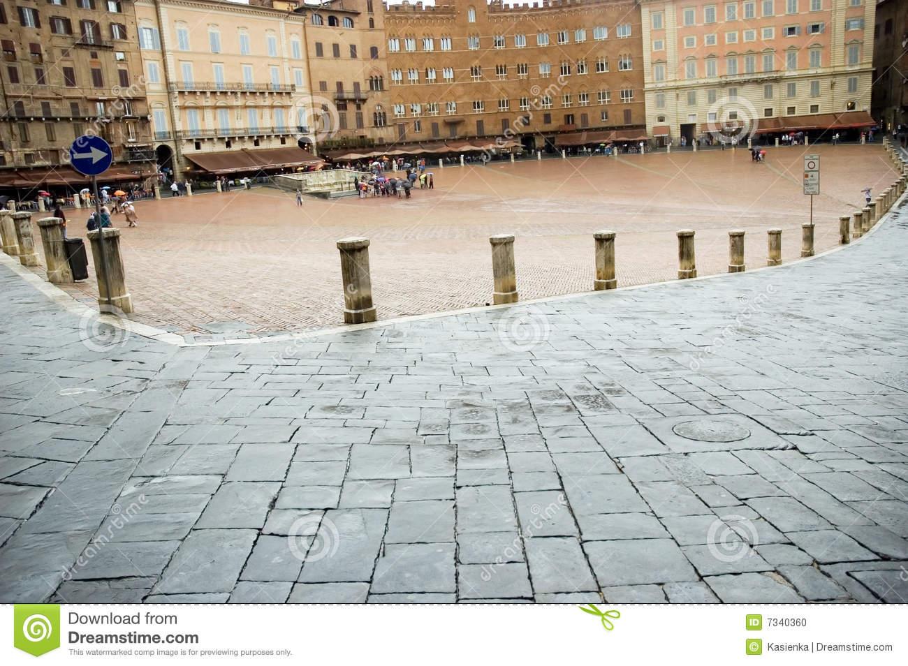 Piazza Del Campo Square Siena Tuscany Stock Photo.