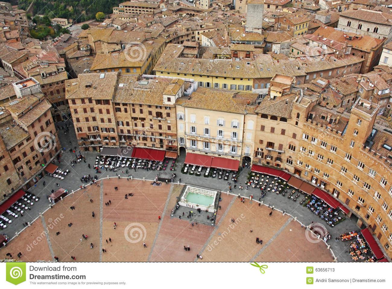 Piazza Del Campo, Siena, Italy Editorial Stock Photo.