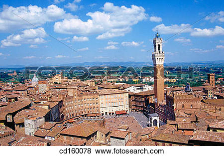 Pictures of Piazza del Campo and Torre del Mangia. Siena. Italy.