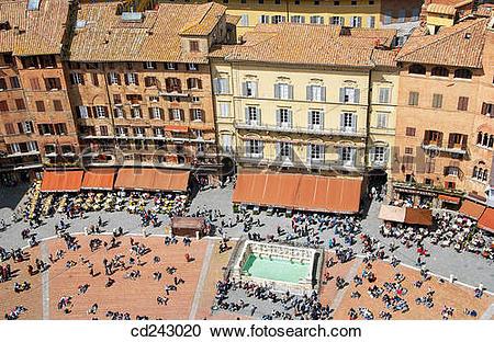 Stock Photography of Piazza del Campo. Siena. Tuscany, Italy.