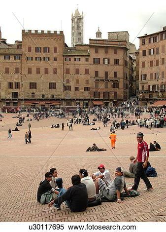 Stock Image of Siena, Italy, Tuscany, Toscana, Europe, Piazza del.