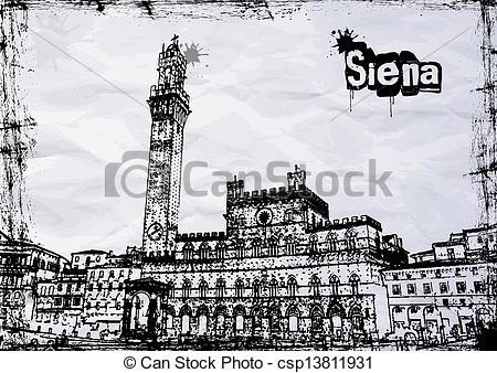 Vectors of Siena City Hall on Piazza del Campo, Tuscany, Italy.