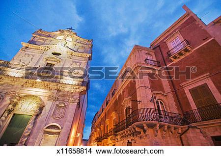 Stock Photo of Palazzo Arcivescovile, Piazza del Duomo, Syracuse.