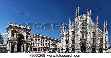 Stock Photograph of Piazza del Duomo in Milan, Italy k9600269.