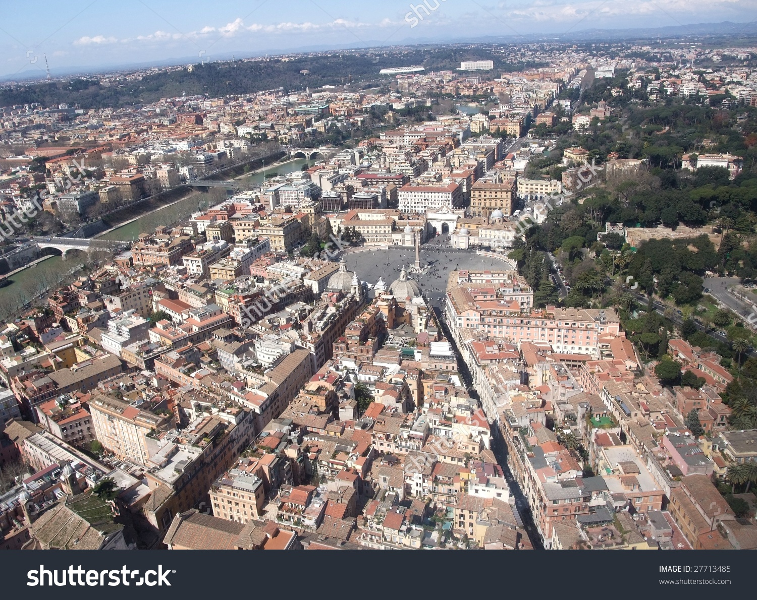 Piazza Del Popolo Aerial Rome Italy Stock Photo 27713485.