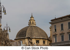 Stock Photographs of Dawn, Piazza del Popolo, Rome, Italy.