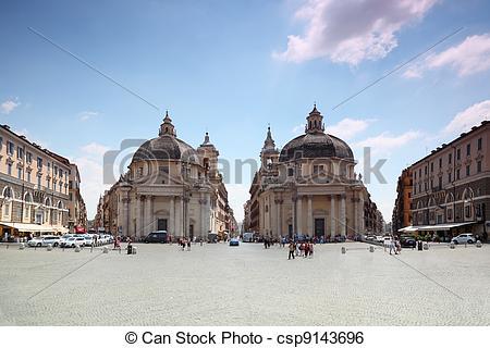 Stock Image of Piazza del Popolo, Santa Maria dei Miracoli.