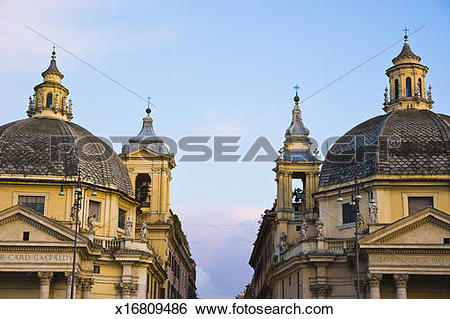 Stock Images of Twin baroque churches, PIazza del Popolo x16809486.