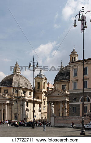 Stock Photography of Piazza del Popolo, Santa Maria di Montesanto.