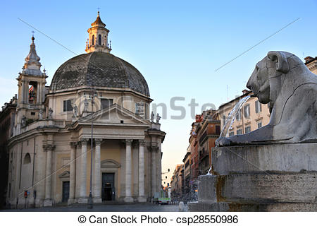 Pictures of Lion fountain in Piazza del Popolo in Rome, Italy.